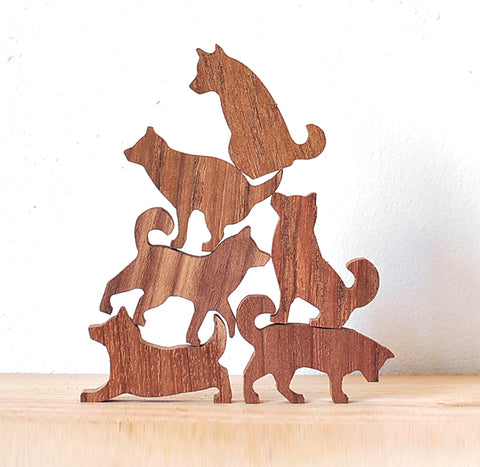 Stacking Wooden Shibas