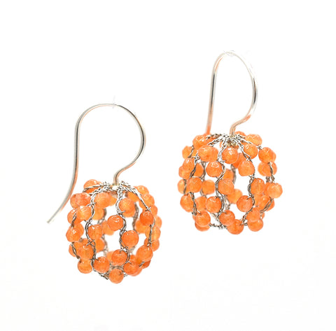 """Tobiko"" (Red Aventurine) Ball Earrings"