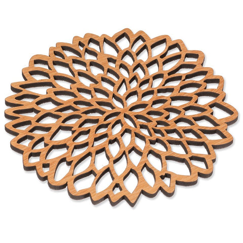 Wooden Dahlia Trivets (set of two)
