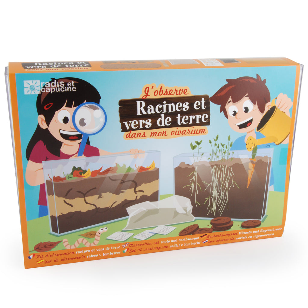 Radis et Capucine Observation set of roots and earthworms