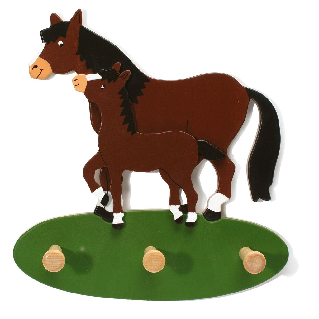 Weizenkorn Wooden Children's Coat Racks, Pony with Filly