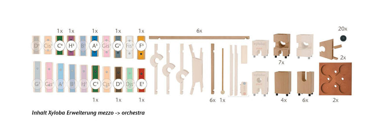 Xyloba Marble Run ~ Extension Set Mezzo > Orchestra, 62 components - Da Da Kinder Store