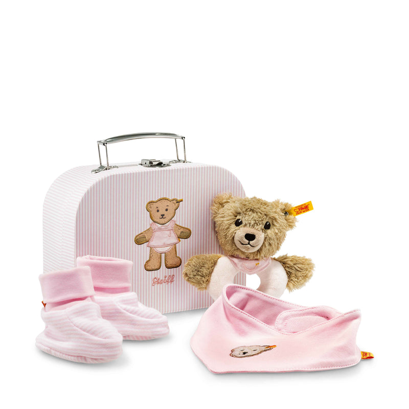Steiff Sleep well bear grip toy with rattle gift set, Pink - Da Da Kinder Store