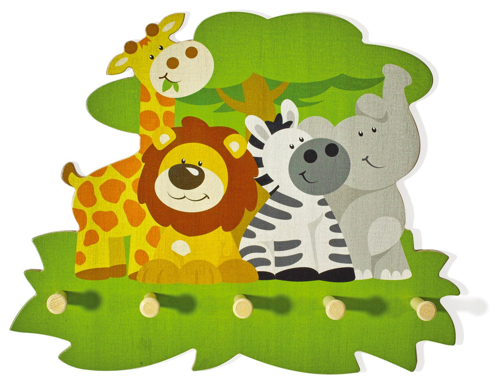 Weizenkorn Wooden Children's Coat Racks, Wildlife Assembly
