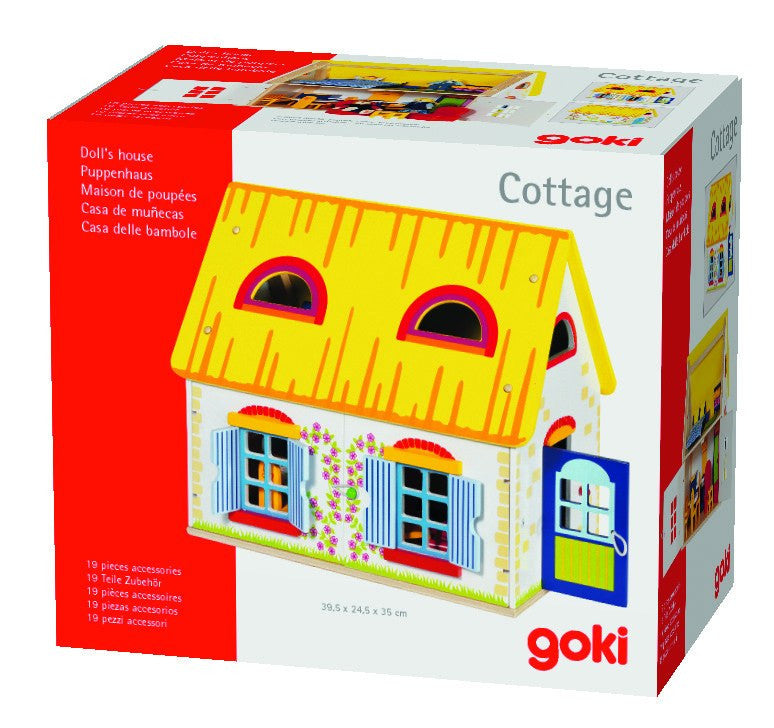 Goki Doll's House Cottage with accessories