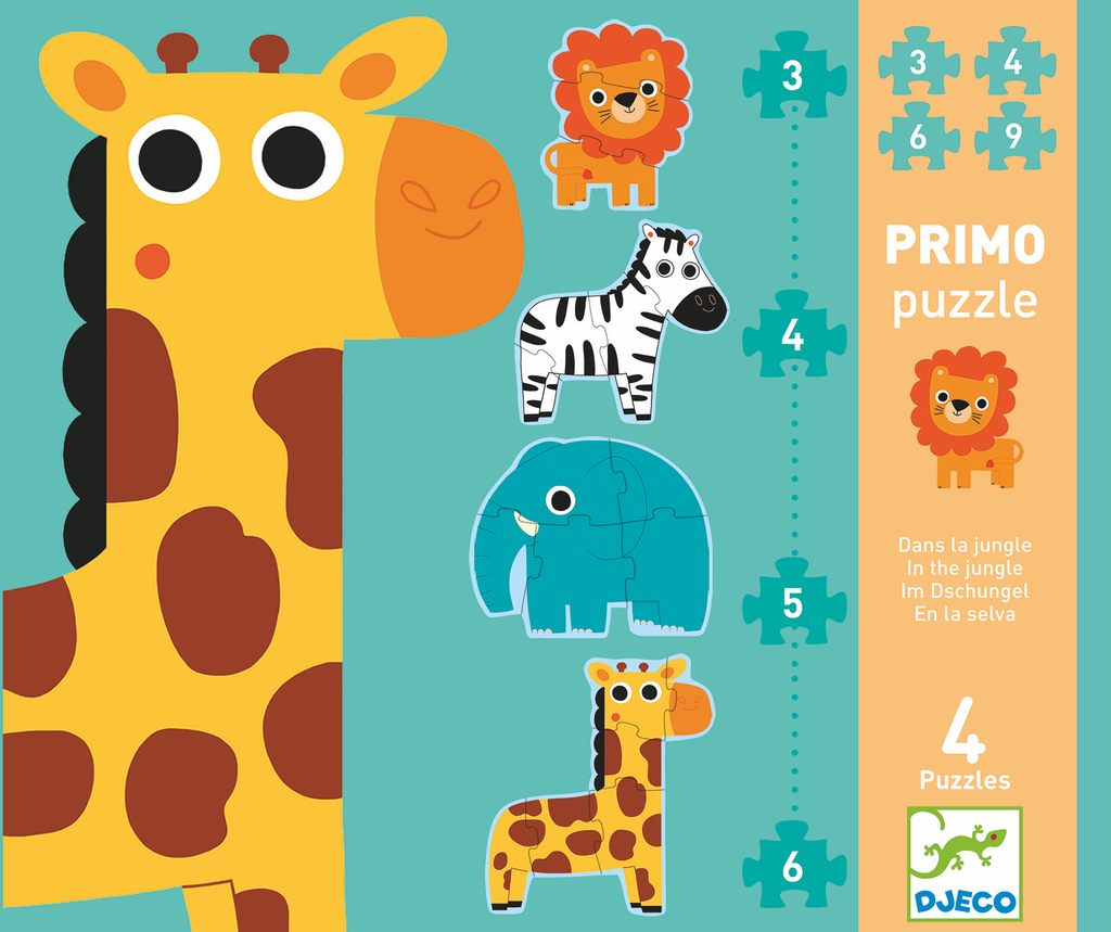 Djeco Progressive Puzzle - In The Jungle 2/3/4/5 - Da Da Kinder Store