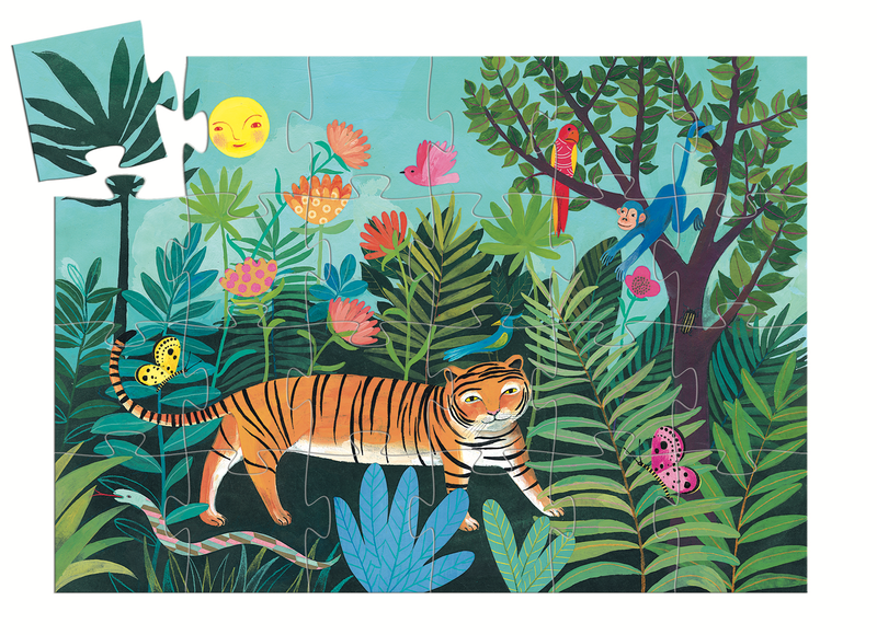 Djeco Silhouette Puzzle - The Tiger's Walk 24 Pcs