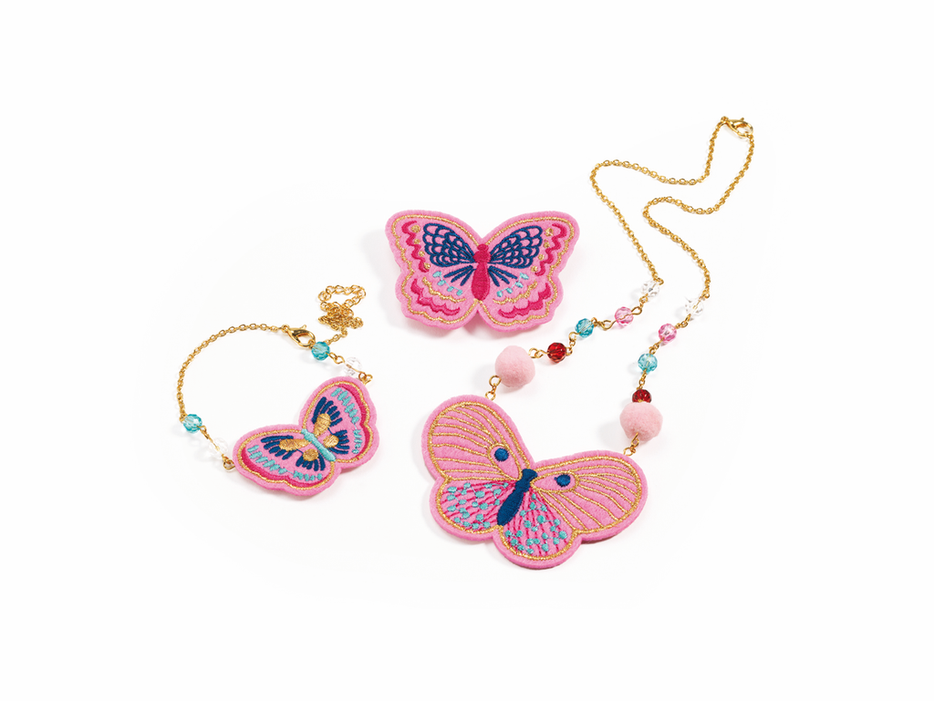 Djeco Jewellery Set - Embroidered Jewels Butterflies