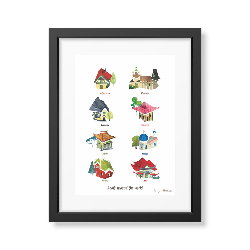 Ollie & Lily Roofs Around The World 1 Poster - Da Da Kinder Store