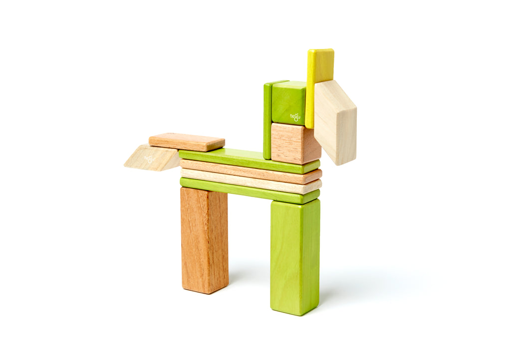 Tegu 14 Piece Magnetic Wooden Block Set Jungle