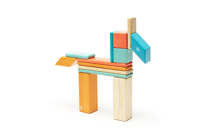 Tegu 14 Piece Magnetic Wooden Block Set Sunset