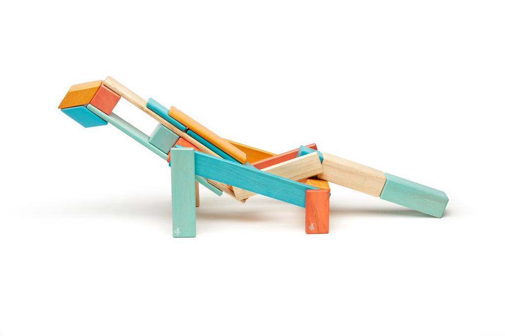 Tegu 24 Piece Magnetic Wooden Block Set Sunset