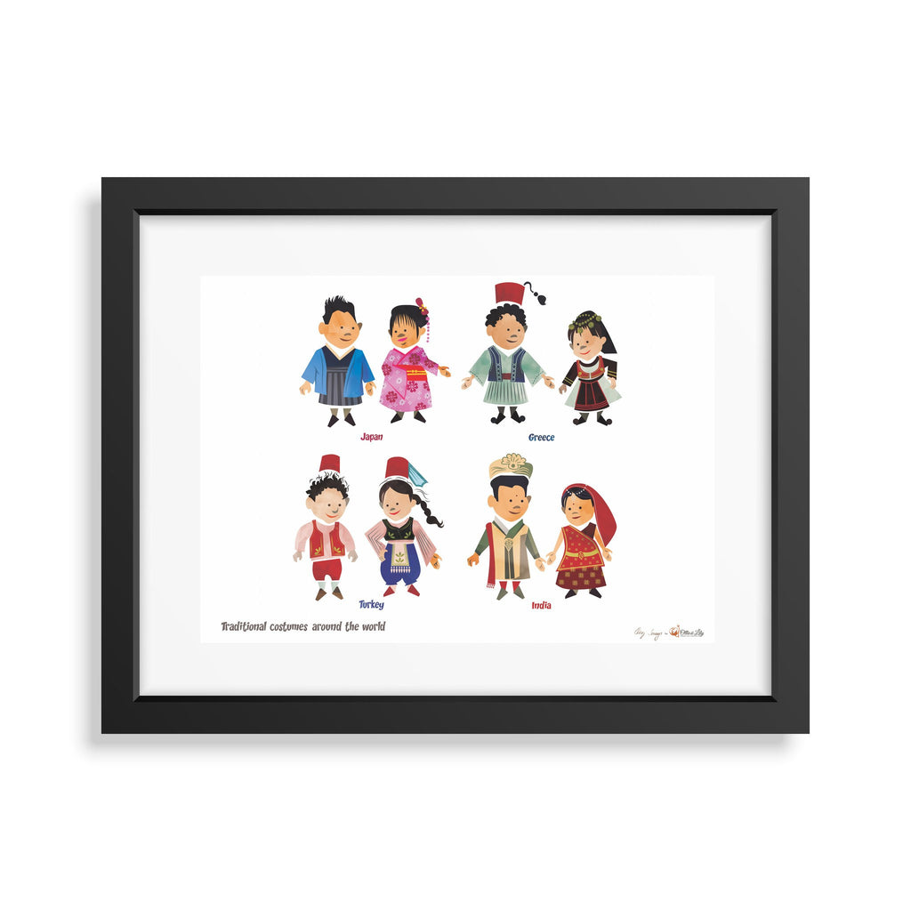 Ollie & Lily Traditional Costumes Around The World 2 Poster - Da Da Kinder Store