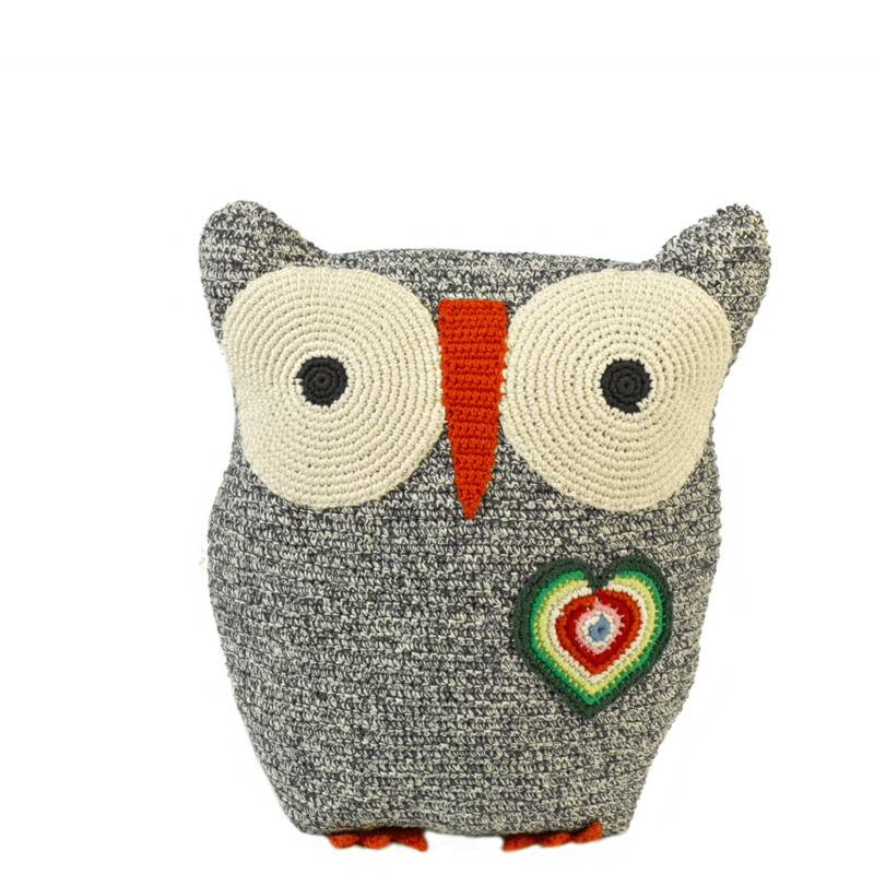 Anne Claire Petit Owl Cushion Black
