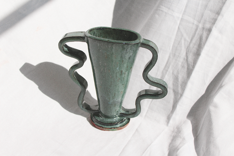 Morgan Peck - Short Stretch Vase (Dark Water Green)