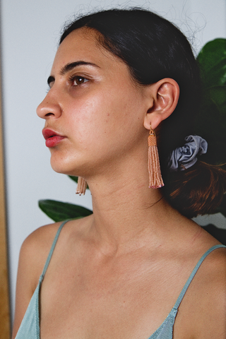 Zartiztry - Athena Tassel Earrings (Wheat/Cedar)