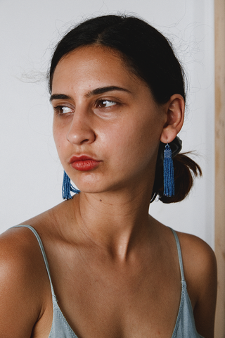 Zartiztry - Athena Tassel Earrings (African Blue/Iris Patina)