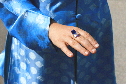 Mary Poppin - Glass Ring (Clear/Blue)