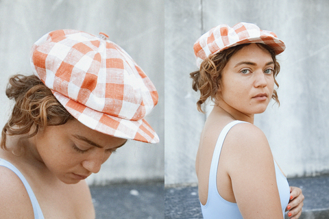 Clyde - Kingston Hat (Orange & White Plaid)