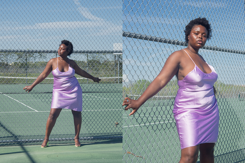 Priscavera - Low Back Slip Dress (Violet)