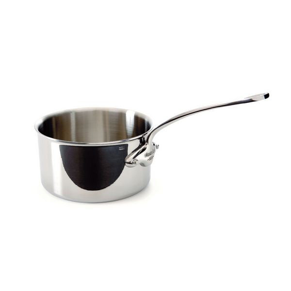 Mauviel M'cook Stainless Steel Saucepan, cast stainless steel handle, 1.9 qt.