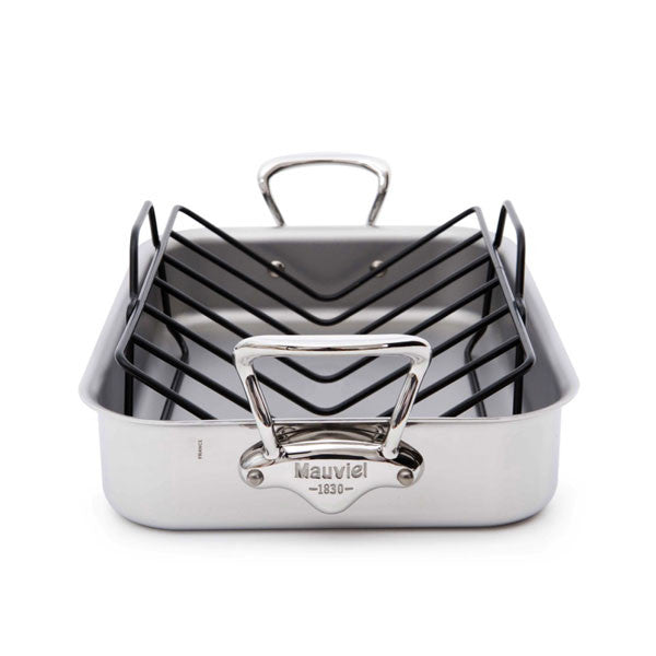 Mauviel M'cook Stainless Steel Roasting Pan with Rack