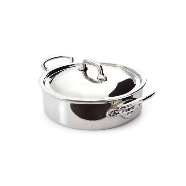 Mauviel M'cook Stainless Steel Rondeau & Lid, cast stainless steel handle, 5.8 qt.