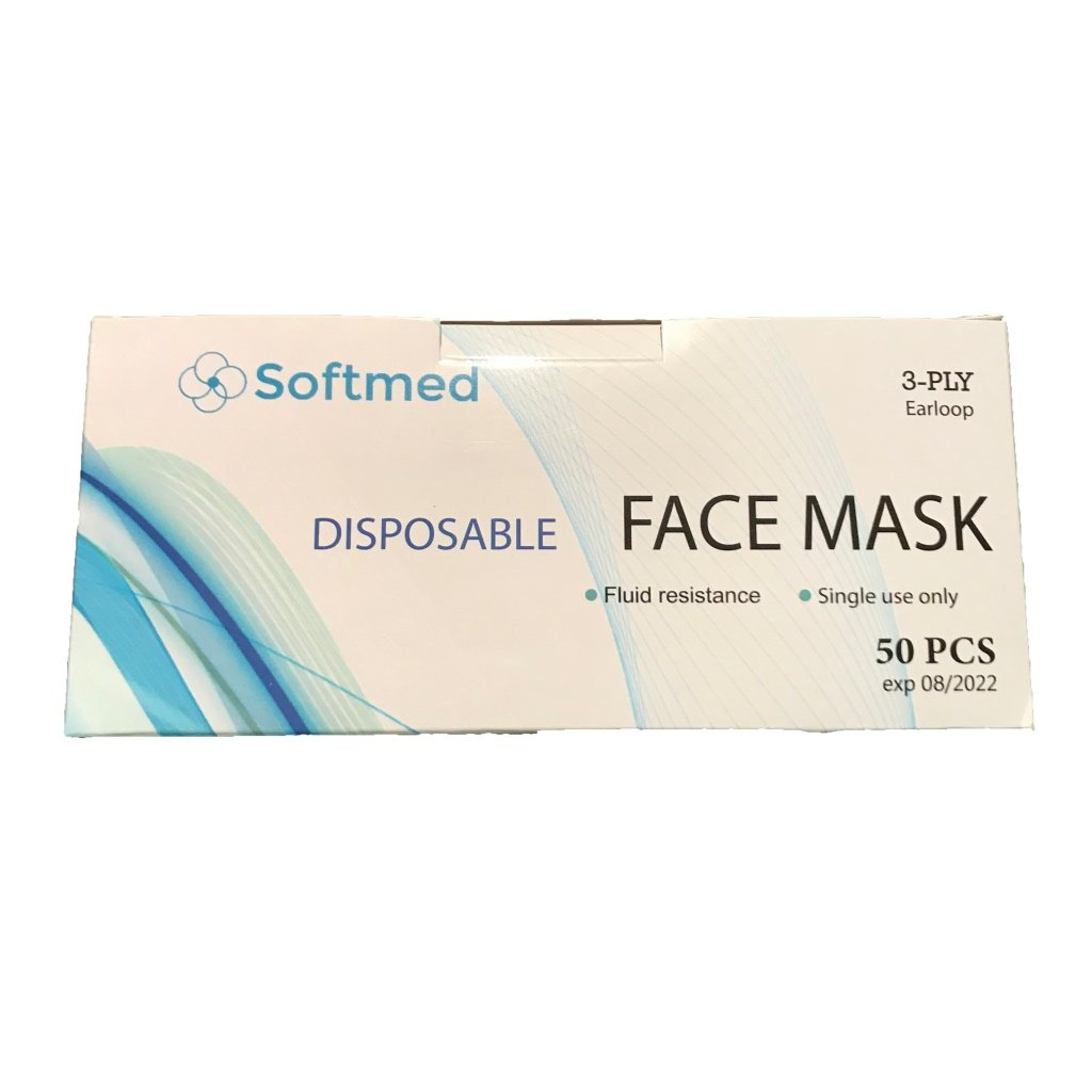 Softmed - Disposable Face Mask Box of 50  -Level 3 -3 Ply. TGA Approved -In Stock