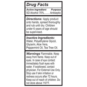 2 oz RXCleanse Hand Sanitizer Drug Facts Panel