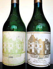 Bottles of 1985 Château Haut Brion. Is the one on the left a forgery?