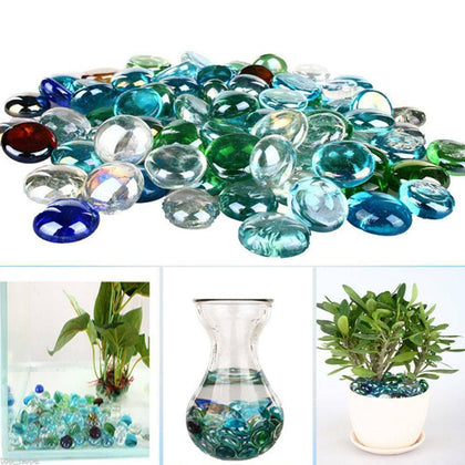 Despacito® Glass Gem Stone, Flat Round Marbles Aquarium Pebbles for Vase Fillers, Table Scatter, Landscaping, Aquarium Fish Tank, Party Decoration, Crystal Rocks Approx 200 Pcs (Multi Color)