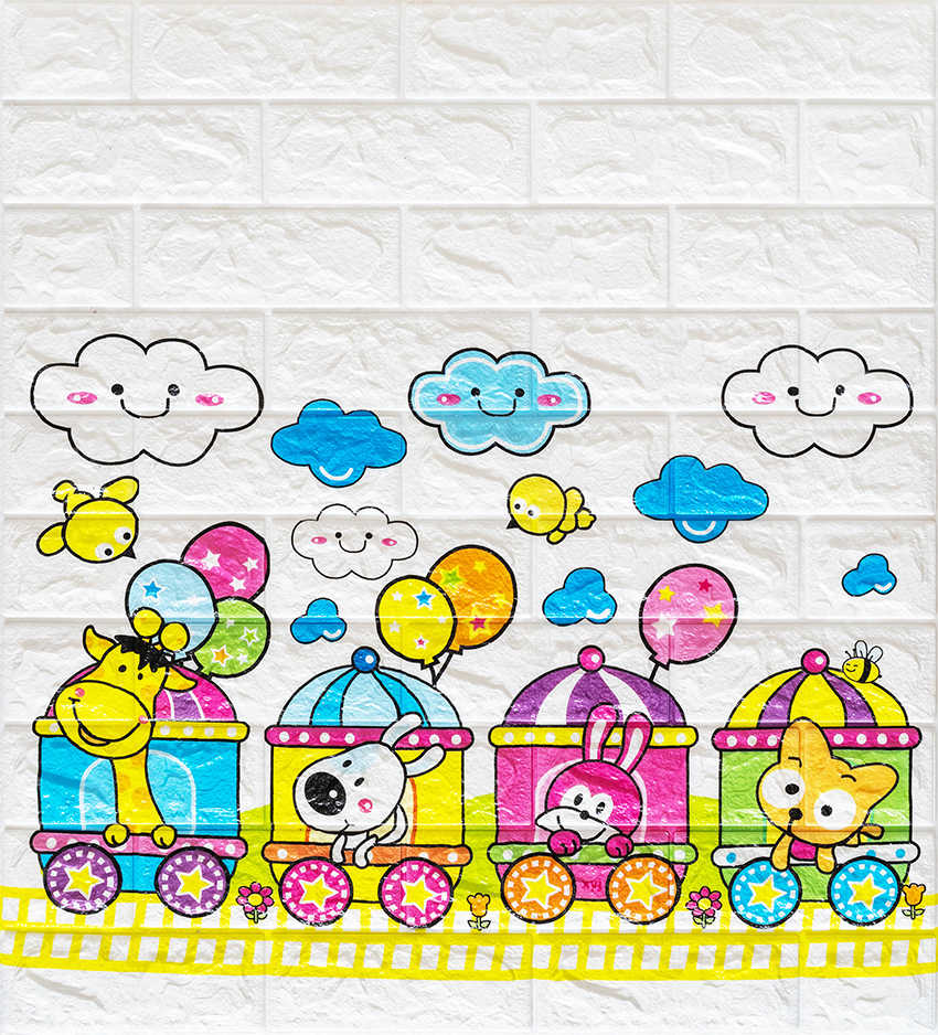 Nasmodo 3D Brick Foam Wallpaper,Living Room;Bedroom;Kitchen;Background Wall Decoration;Beautiful Train Pattern(Color:Multi-Colored)