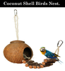 DESPACITO® Birds House With Ladder Coconut Shell Hut Cage Feeder Pet Parrot with Hanging Lanyard Toy.