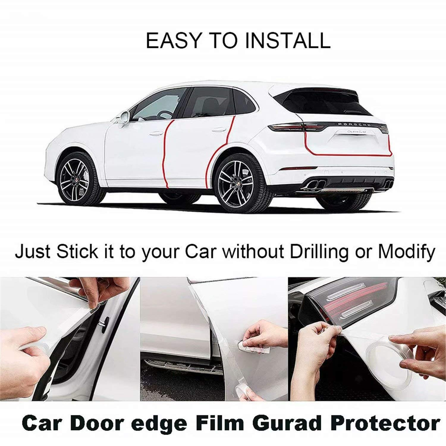 Hukimoyo® Anti-Scratch Car Strips, Transparent Car Door Tape Edge Guard Protector, Invisible Adhesive Seal Strip Scratch Resistant Car Anti-Collision Strips (1 Pc)