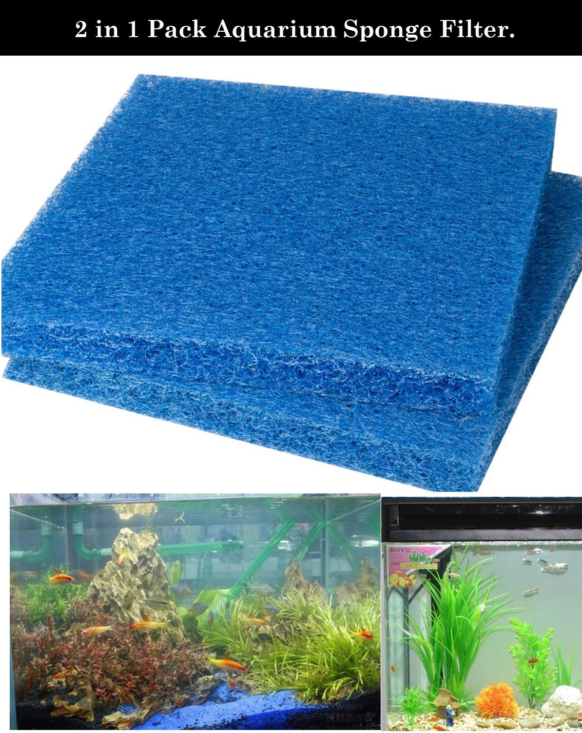 DESPACITO® Aquarium Filter Sponge for Fish Tank, Filter Sponge (Blue (Size:50 x 50 x 1 cm).