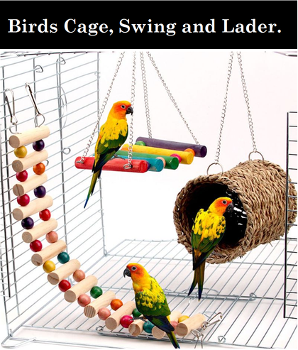 DESPACITO® Parrot Cage, Swing and Ladder with All Colorful Toy(3 pcs).