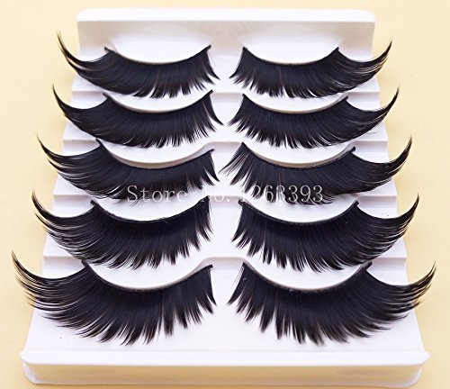 SOZZUMI Winged Exaggerated False Eyelashes Soft Long Section Thick Cross Lashes Performing Arts Makeup Fake Eyelashes (5 Pair)