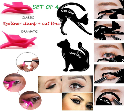 Sozzumi Professional Cat Eye Winged Eyeliner Stamp + Cat Line Eyeliner Stencil, Stamp Seal Eyeshadow Template Card For Beauty Makeup Cosmetic Tool