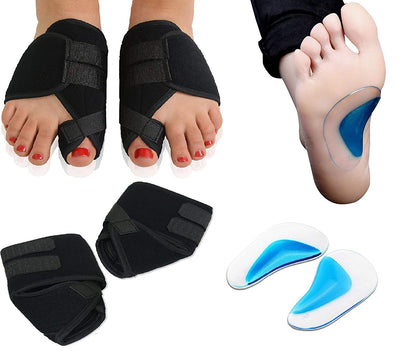 Sozzumi Silicone Orthopedic Adjuster Arch Support and Polyester Big Toe Bunion Splint Hallux Valgus Foot Pain Relief Corrector (Blue and Black)