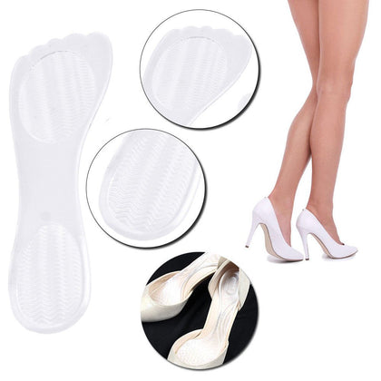 Sozzumi Self-adhesive Transparent High Heel Insoles With Comfortable Silicone Gel Foot Cushion Arch Support Anti Slip Shoe Inserts For Pain Relief Foot Pad (1Pair)