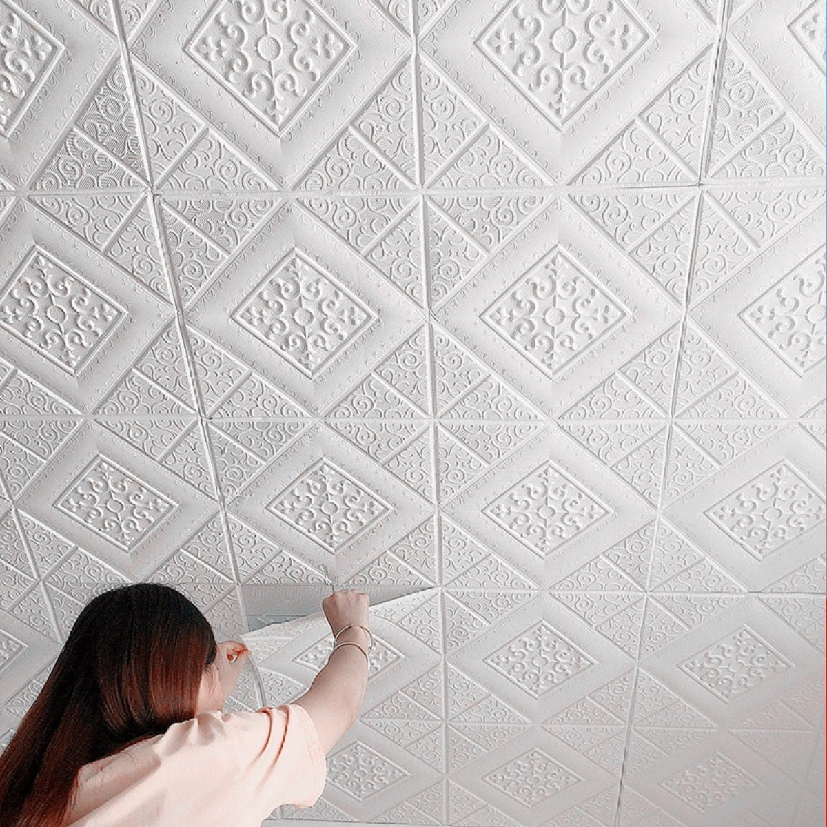 Nasmodo® 3D Ceiling Tiles Panel Vinyl Wallpaper Stickers Waterproof Foam self-Adhesive Wall Stickers for Home, Living Room, Bedroom Wall Panels Tiles Paper for Decoration((70 * 70 cm)