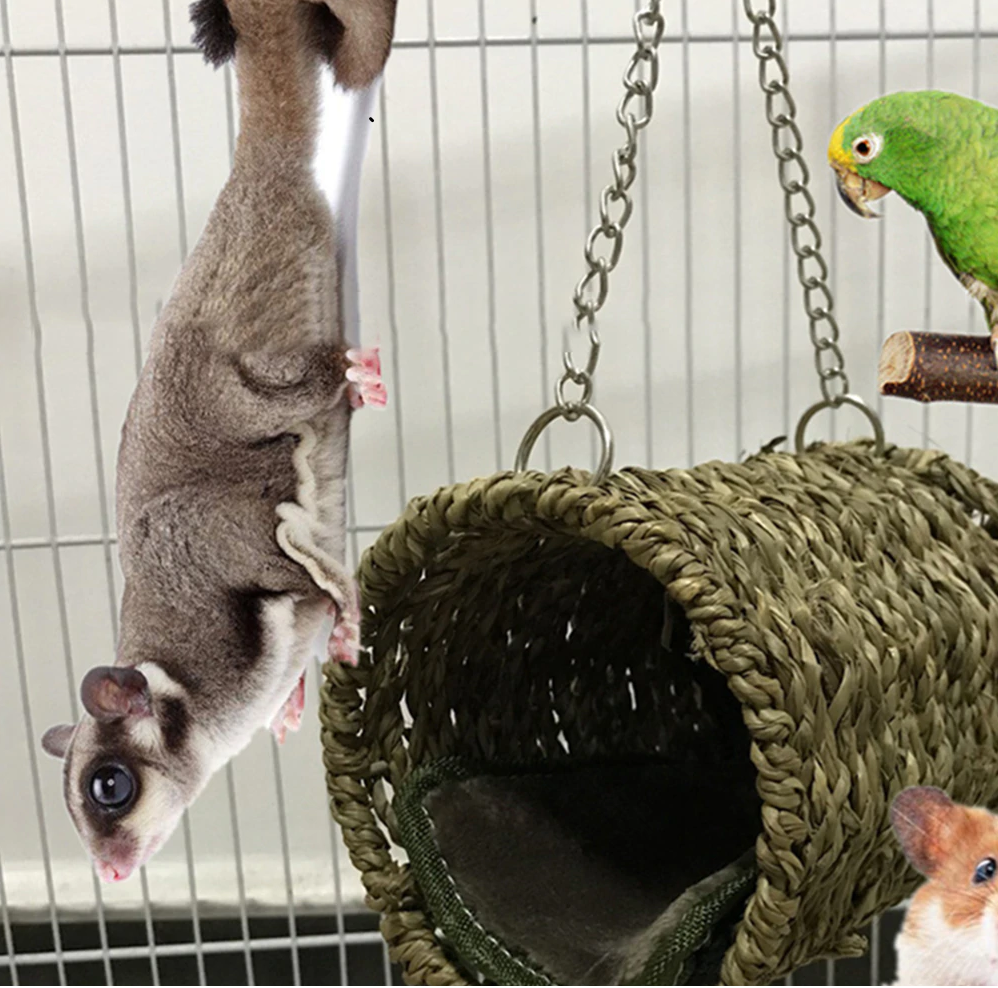 DESPACITO® Pet Nest Hammock Hanging Bird Cage for Warm Winter, Tunnel Shape Pet Cage.
