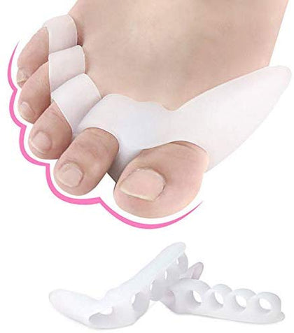 NUCARTURE Silicone Gel Toe Separators Stretcher Alignment Fingers Overlapping Toes Orthotics Foot Care and Bunion Protector Toe Straightener Orthopedic Hammer Toes Cushion Hallux Valgus Correction Foot Care.