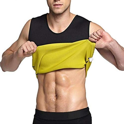NUCARTURE® Mens Slimming Body Slim Lift Shaper Belly Buster Underwear Vest Compression And Tummy Tucker Vest (SLEEVE LESS, XL)