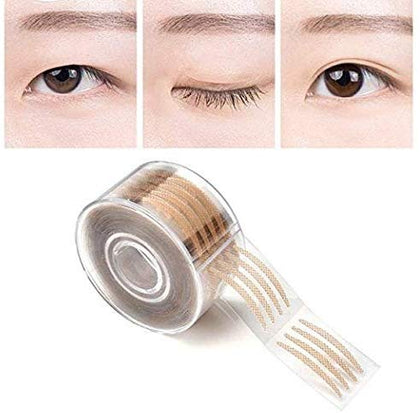 NUCARTURE® Double Fold Invisible Big Eyes 600pcs Makeup Clear Lace Mesh Eyelid Shadow Tape Tools Sticker Stripe. (Small, Beige)