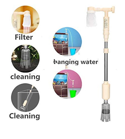 DESPACITO® Aquarium Automatic Siphon Fish Tank Gravel Cleaner Pump Vacuum Battery Cleaner Filter Water Changer Sand Washing Device (Model:AS-715 Length:92 cm Max Output:530 L/H H.Max: 1.2M)