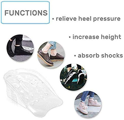 NUCARTURE® 5 Layers Height Increasing Shoes Insoles for Men insole for height increase and Women with silicone gel inserts lift shoe pads shoe height increase men shoe height increase women (1 PAIR)