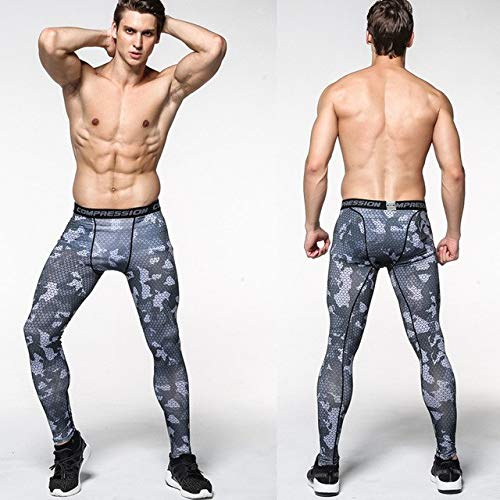 HORIANZO Men Full Pants Polyester & Spandex Compression Pants Tights and Men's Legging with Base Layer for Gym