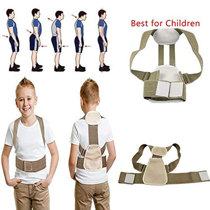 NUCARTURE Adjustable Posture Corrector Upper Back Shoulder Support Brace and Corset Clavicle Correction Belt For Children and kids (ONE SIZE (47-65cm))