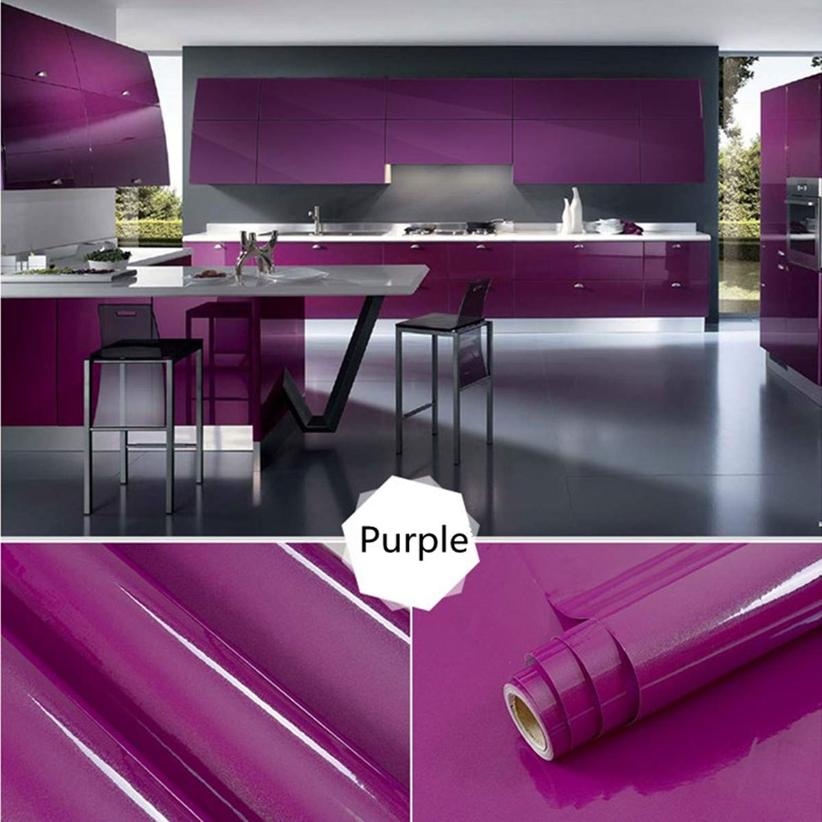 Nasmodo® Multipurpose PVC Wall Papers, Vinyl Contact Paper self Adhesive for Furniture Waterproof Kitchen cabinets Removable Peel and Sticker Wallpaper Bedroom Living Room.